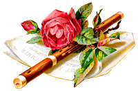 flower rose music flute botanical art digital image download
