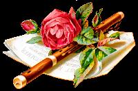 flower rose music flute botanical art digital image download