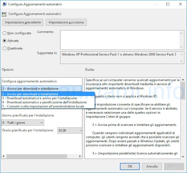 Editor Criteri di gruppo locali Configura aggiornamenti automatici Windows 10