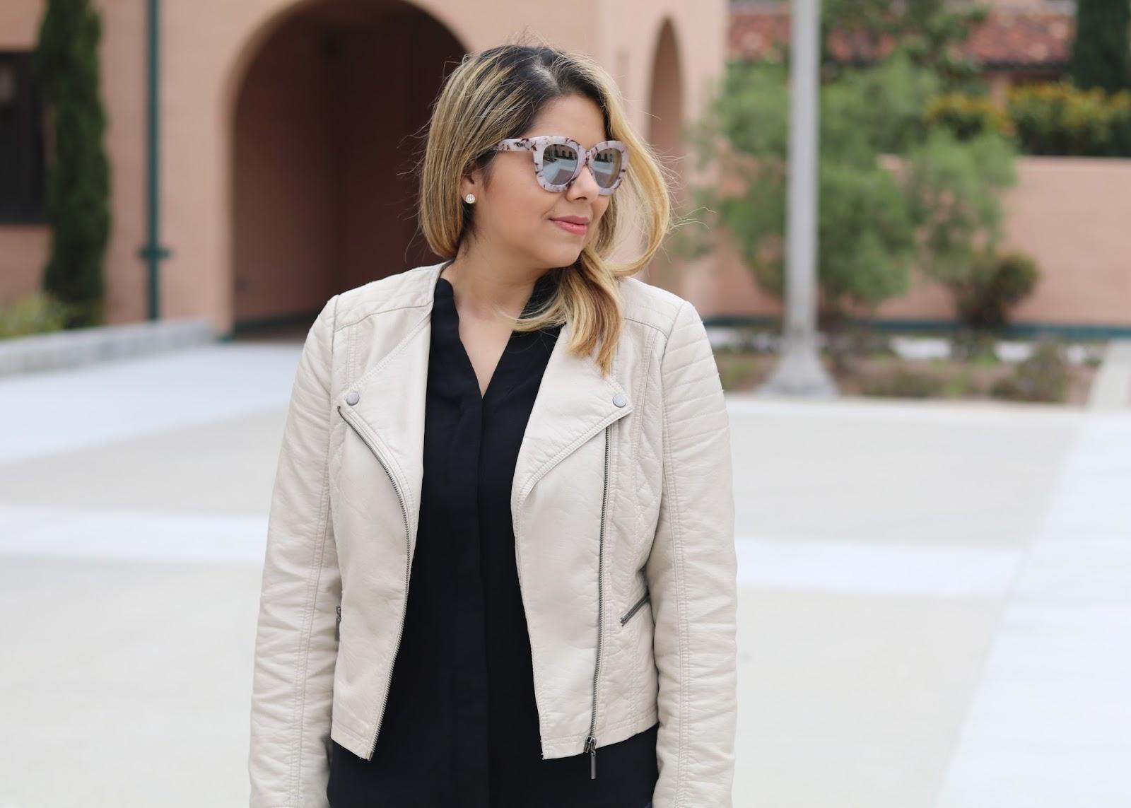 latina fashion blogger, beige jacket outfit, quay australia sunglasses, quay blogger, quay squad