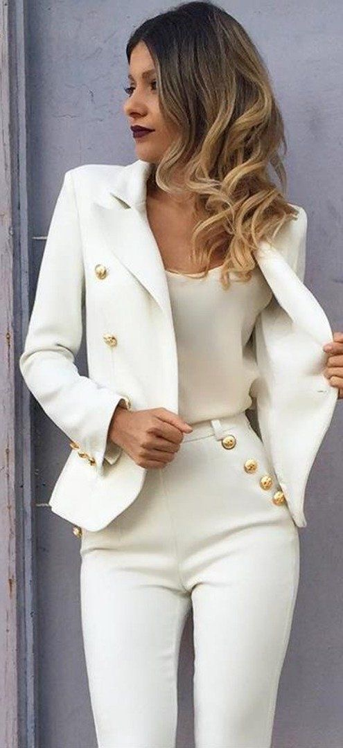 Golden button up blazer and high waisted pants
