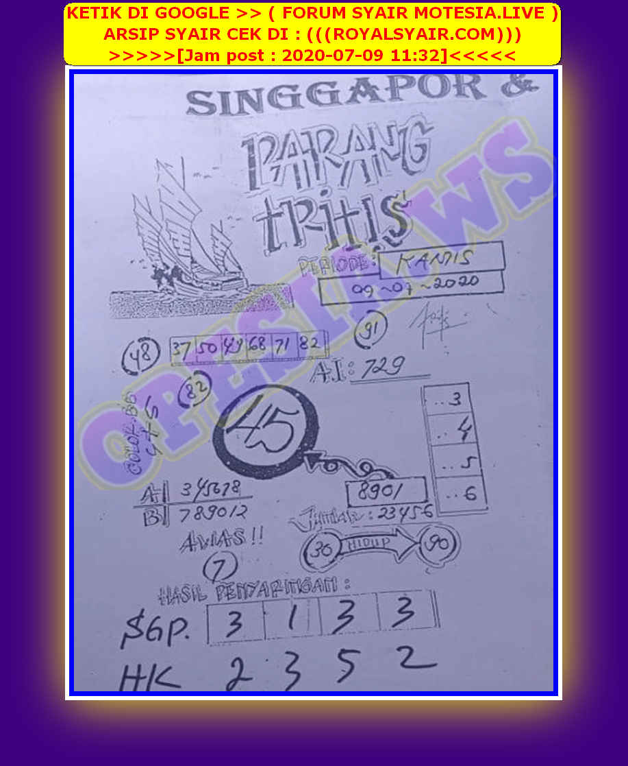 Kode syair Singapore Kamis 9 Juli 2020 39