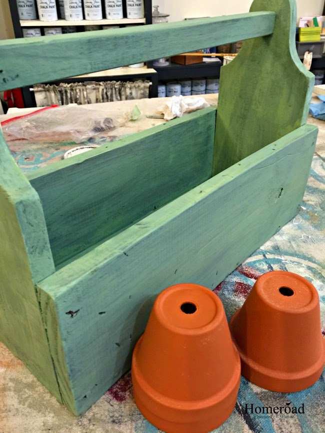 Wooden crate painted with miss mustard seed milk paint for herbs.