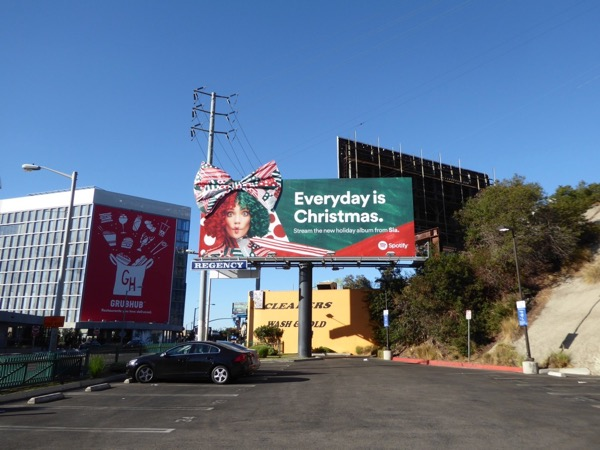 Sia Christmas 3D bow Spotify billboard Sunset Strip