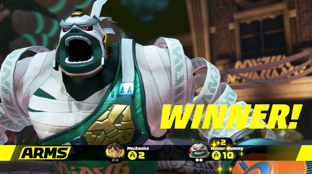 Master Mummy Winner victory screen ARMS