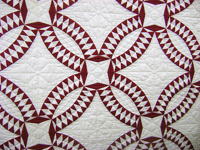 red white quilt; pickle dish quilt