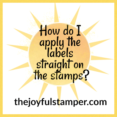 How do I apply the labels straight on Stampin' Up!'s red rubber stamps?