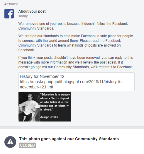 MuskegonPundit: FB censors didn't like another one