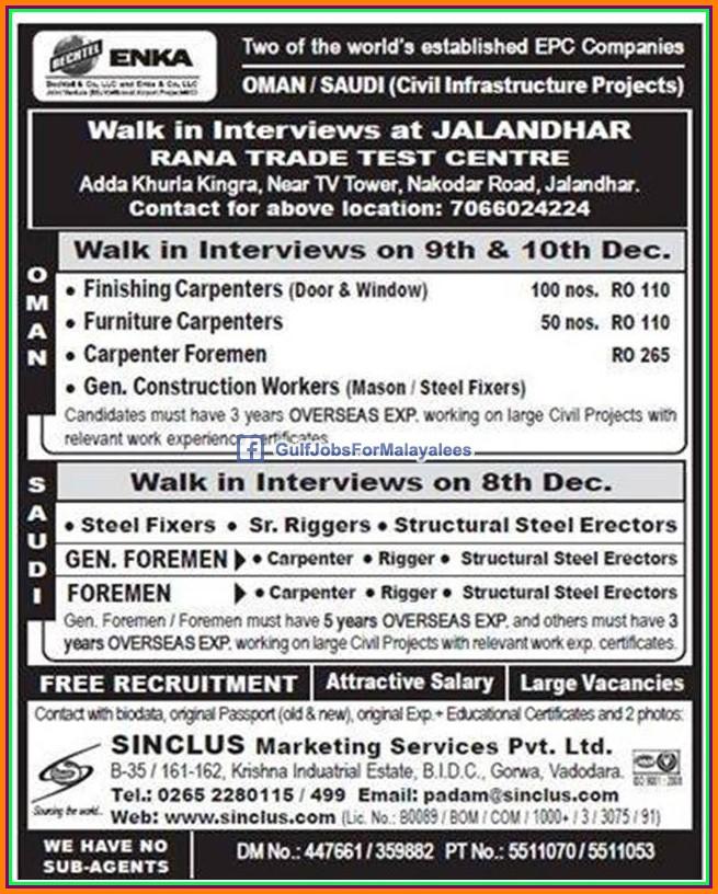 ENKA Oman & Saudi Job Vacancies - Free Recruitment - Gulf