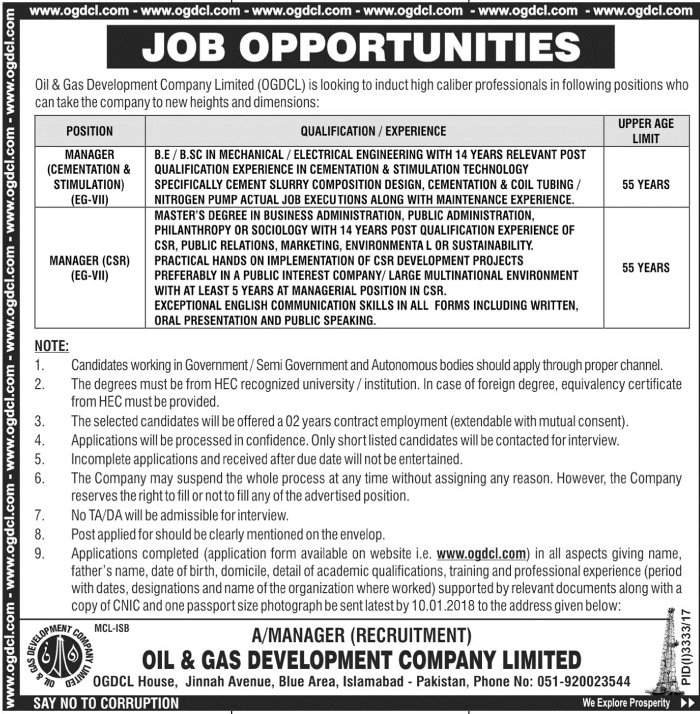 Jobs In Oil And Gas Development Company Limited Islamabad Dec 2017