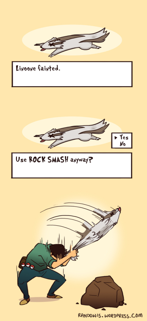 Funny comic strip about using Rock Smash
