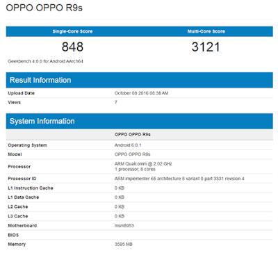 2016 Oppo resmi meluncurkan R9S pada 19 Oktober dengan SD 625 chipset, dan 4GB RAM (via Geekbenk)