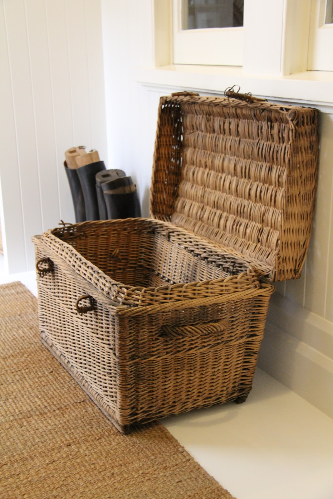 Vintage Finds Wicker Trunk And Riding Boots