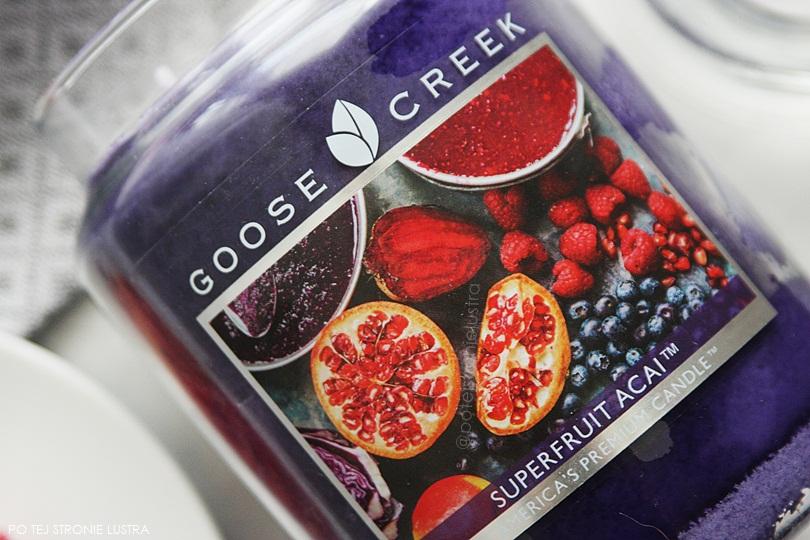 etykieta świecy goose creek superfruit acai