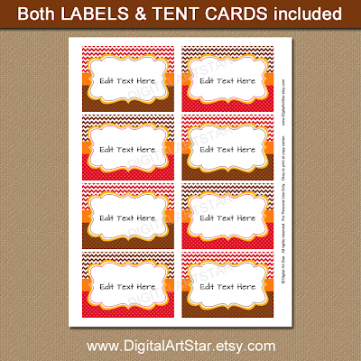 editable Thanksgiving labels in red and brown chevron