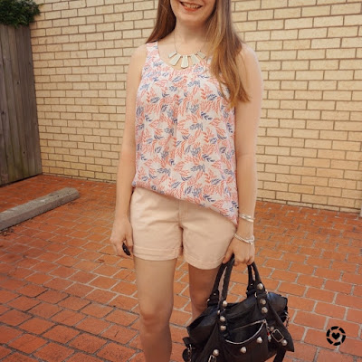 awayfromblue Instagram pastel pink leaf print tank and shorts outfit with black Balenciaga part time bag