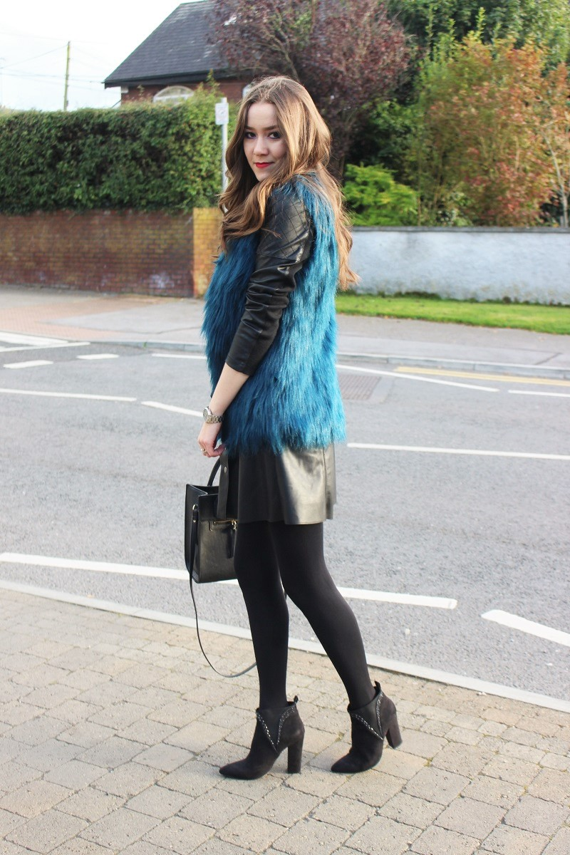 fall outfit, ootd, fur vest, leather dress