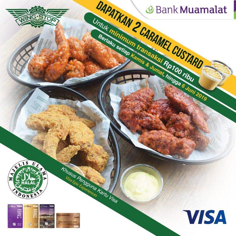 Bank Muamalat - Promo Free 2 Caramel Custard Min 100 Ribu di WingStop
