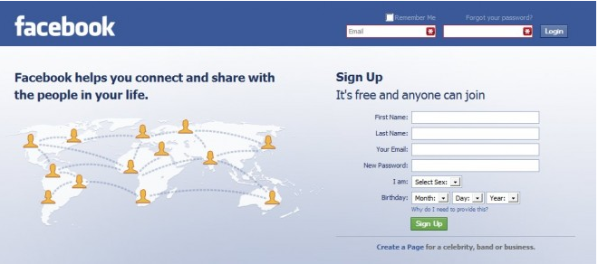 Facebook Login Page Please