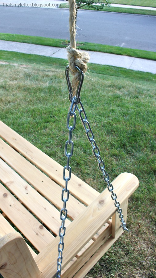 diy swinging bench hardware