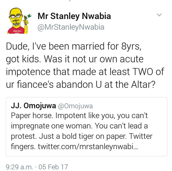 2face protest: PDP supporter Stanley Nwabia rips APC supporter JJ Omojuwa on Twitter