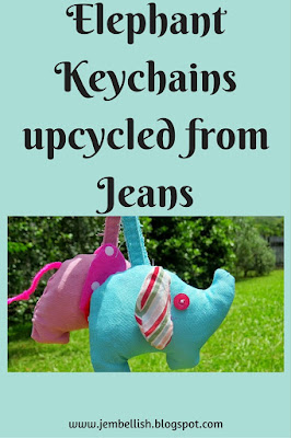 Elephant Keychains upcycled from Jeans