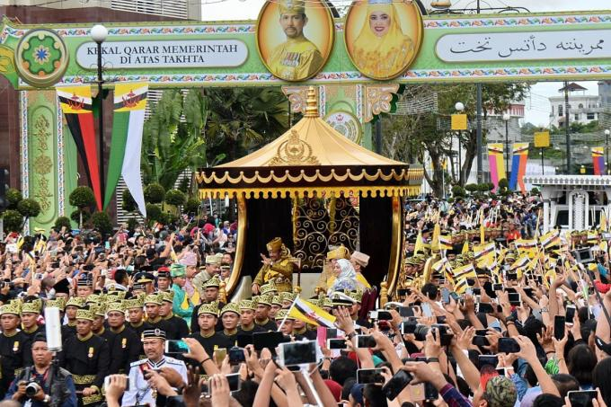 Brunei's ruler marked 50 years in power on 05 October 2017, with celebrations that included a procession through the capital on a gilded chariot.