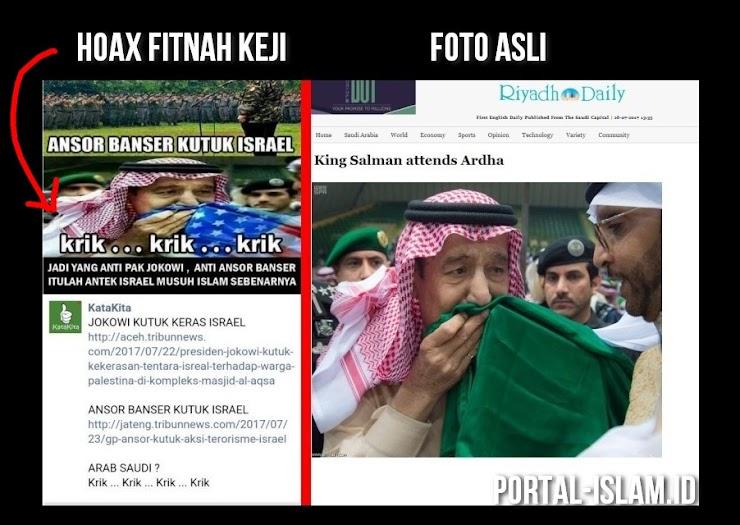 Astaghfirullahhaladzim, Fanpage Pendukung Jokowi Memfitnah Menyebar Foto Editan Raja Salman Cium Bendera Amerika