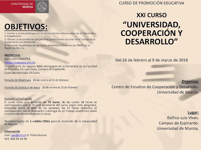 XXI Curso Universidad, Cooperación y Desarrollo.