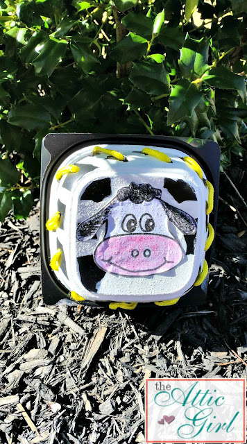 Upcycling a Chick-fil-A soup container, cow crafts, barnyard song, kids crafts, books about cows, book extension activities, book extension crafts