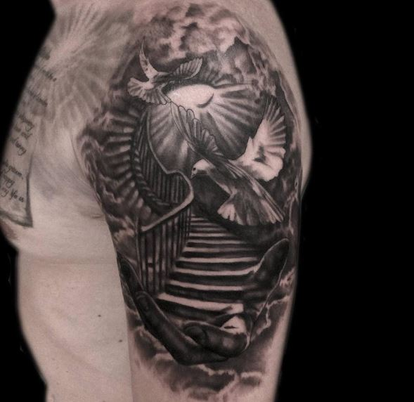 50 aneglic heaven tattoos ideas and designs 2018 for Stairway to heaven tattoo