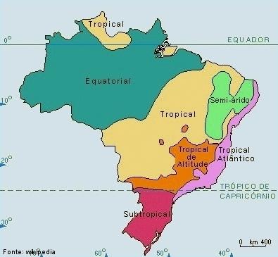 Imagem do mapa do Brasil, dividido por cores representando os climas de cada região.