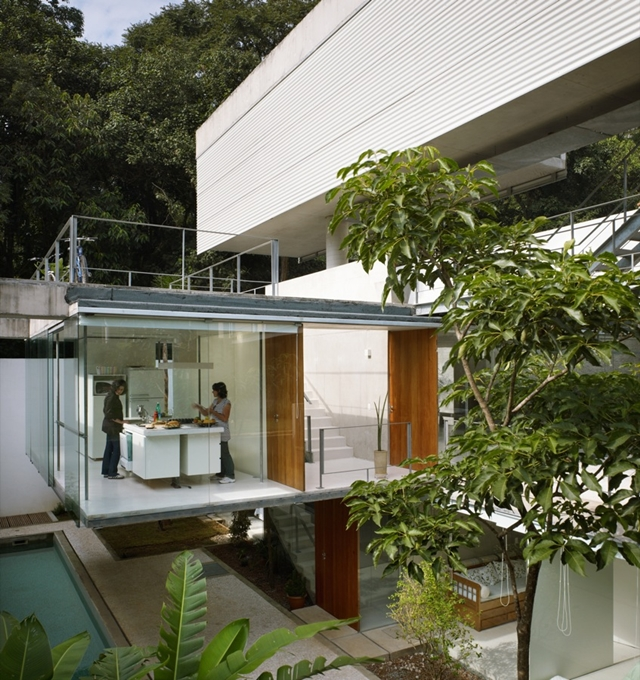 Picture of the kitchen on the second level of unusual house in Brazil