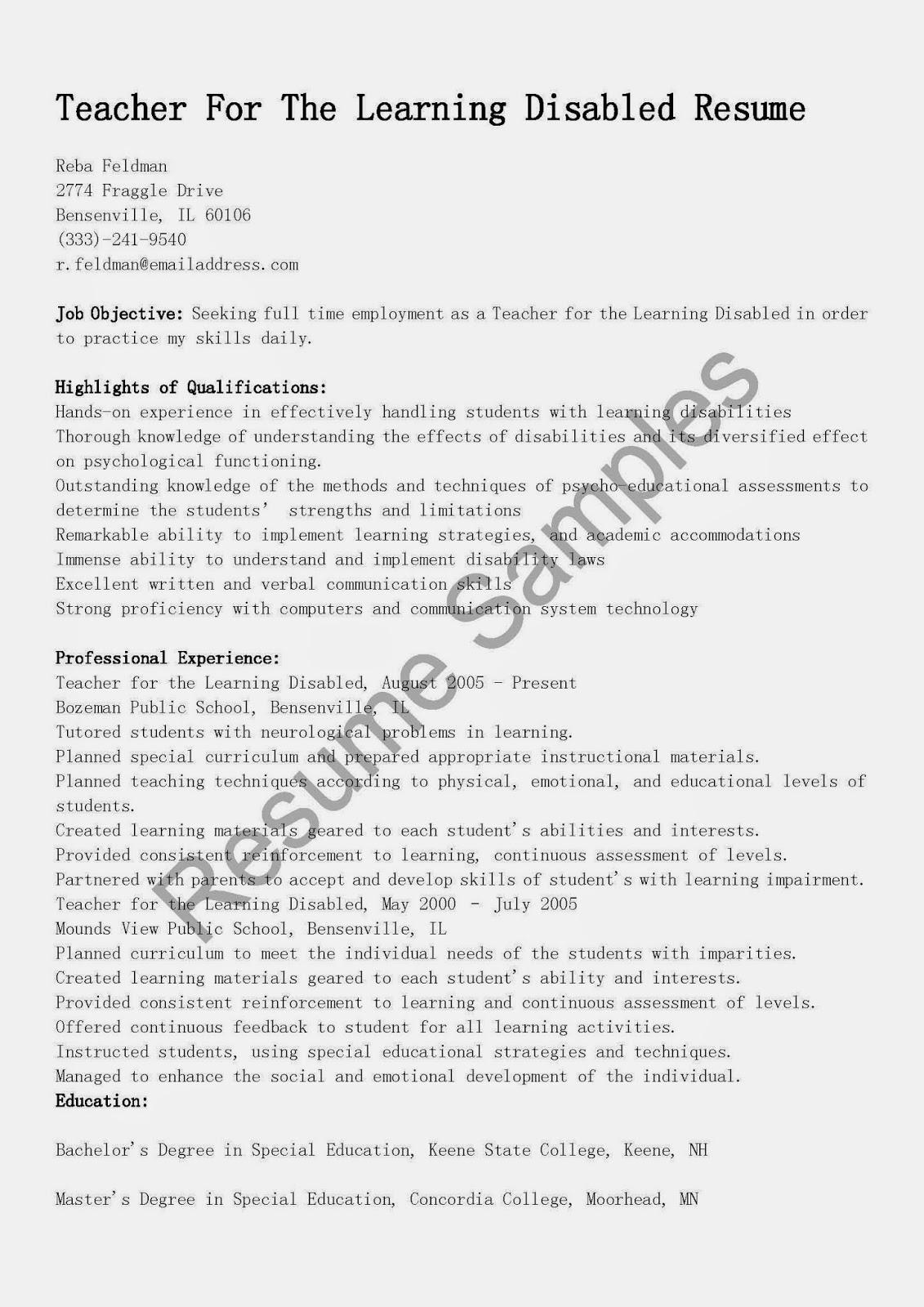 Resume Samples Teacher For The Learning Disabled Resume