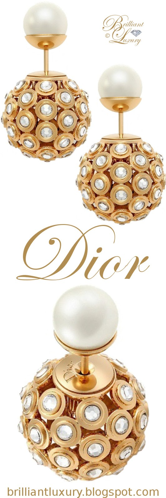 Brilliant Luxury ♦ Dior 'Mise en Dior' tribal-inspired gold earrings with diamonds