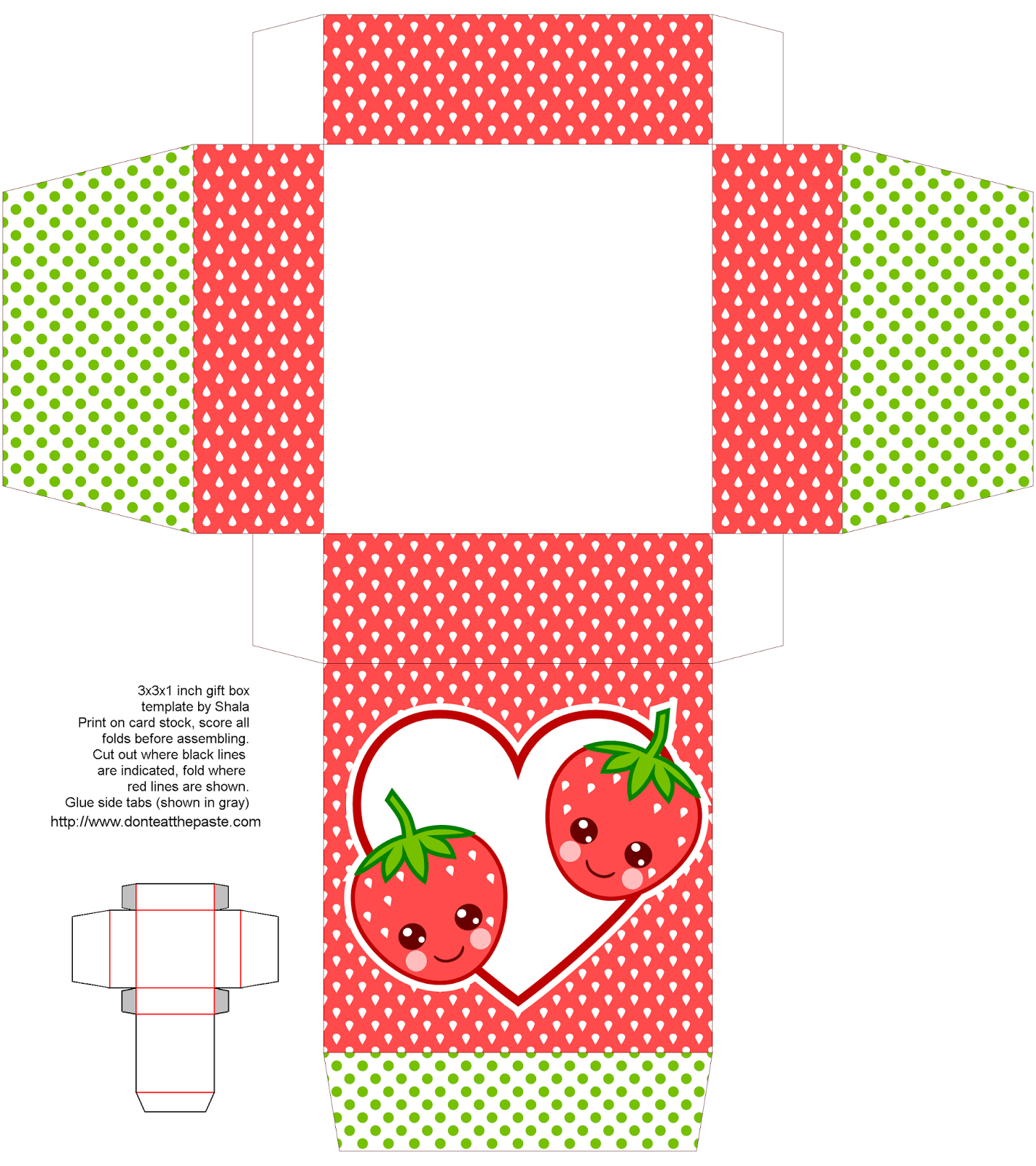 cute strawberry gift box to print and make