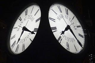 Main at Texas Clock Dials at Night