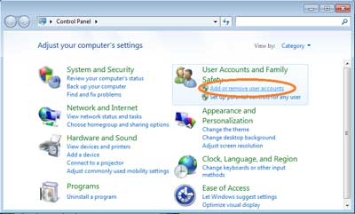Add or Remove User Account  - Cara Mengunci Komputer Dengan Password Saat Di Tinggal Otomatis