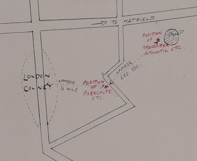 Close-up - Sketch map of Richter's equipment stashes (National Archives - KV 2/32)