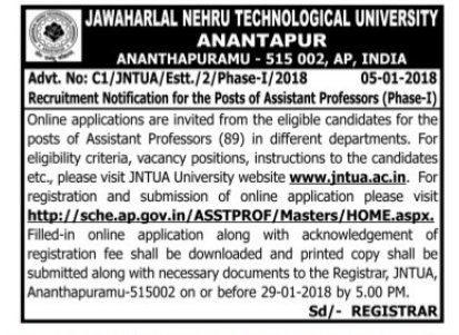 jntu university associate assistant professors recruitment 2018,jntua assistant professors recruitment application form,jntua professors selection list results