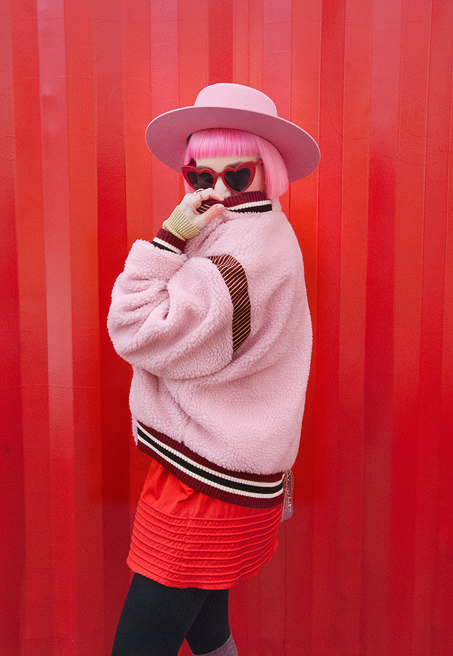pink haired blogger, bomber jacket, Vinti Andrews