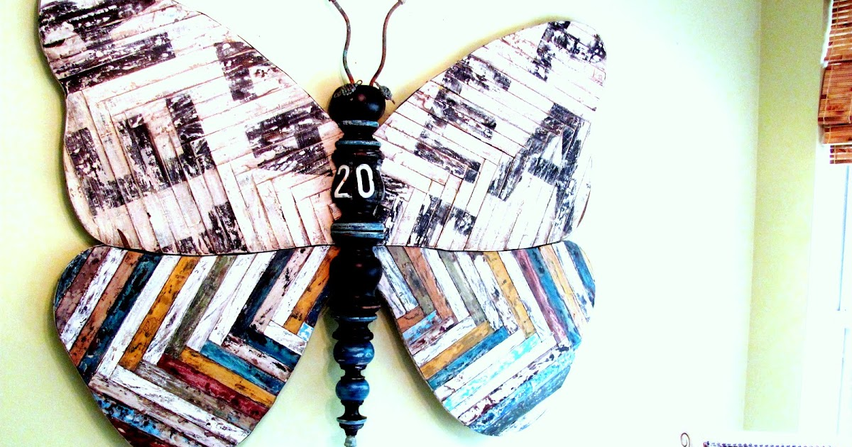 Superb Large FT Mixed Media Butterfly Art with Reclaimed Wood and Vintage Sign Look Recycled Art Sculpture Lucy Designs