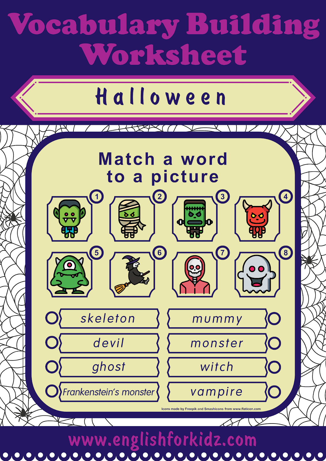 English For Kids Step By Step Printable Halloween