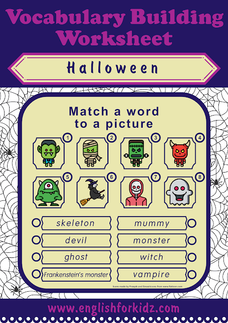 Halloween worksheet - word to picture matching activity