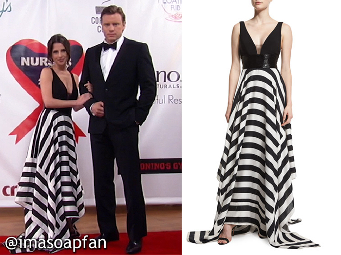 Sam Morgan, Kelly Monaco, Black and White Striped Ball Gown, Jovani, Nurses Ball, GH, General Hospital