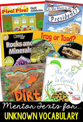Primary informational mentor text suggested book list for finding the meaning of unknown vocabulary within a text- using context clues- RI.1.4, RI.2.4, RI.3.4