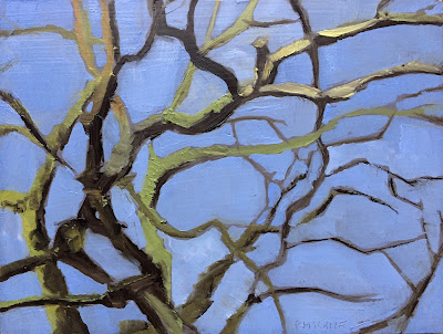 """Chestnut branches"", oil on panel 15x20 cm, tree painting by Philine van der Vegte"