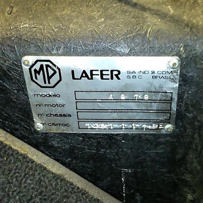 O representante da Lafer nos Estados Unidos, que concluiu a montagem do carro com chassi e motor de VW Sedan mexicano, não gravou o número do motor e do chassis na plaqueta do fabricante.