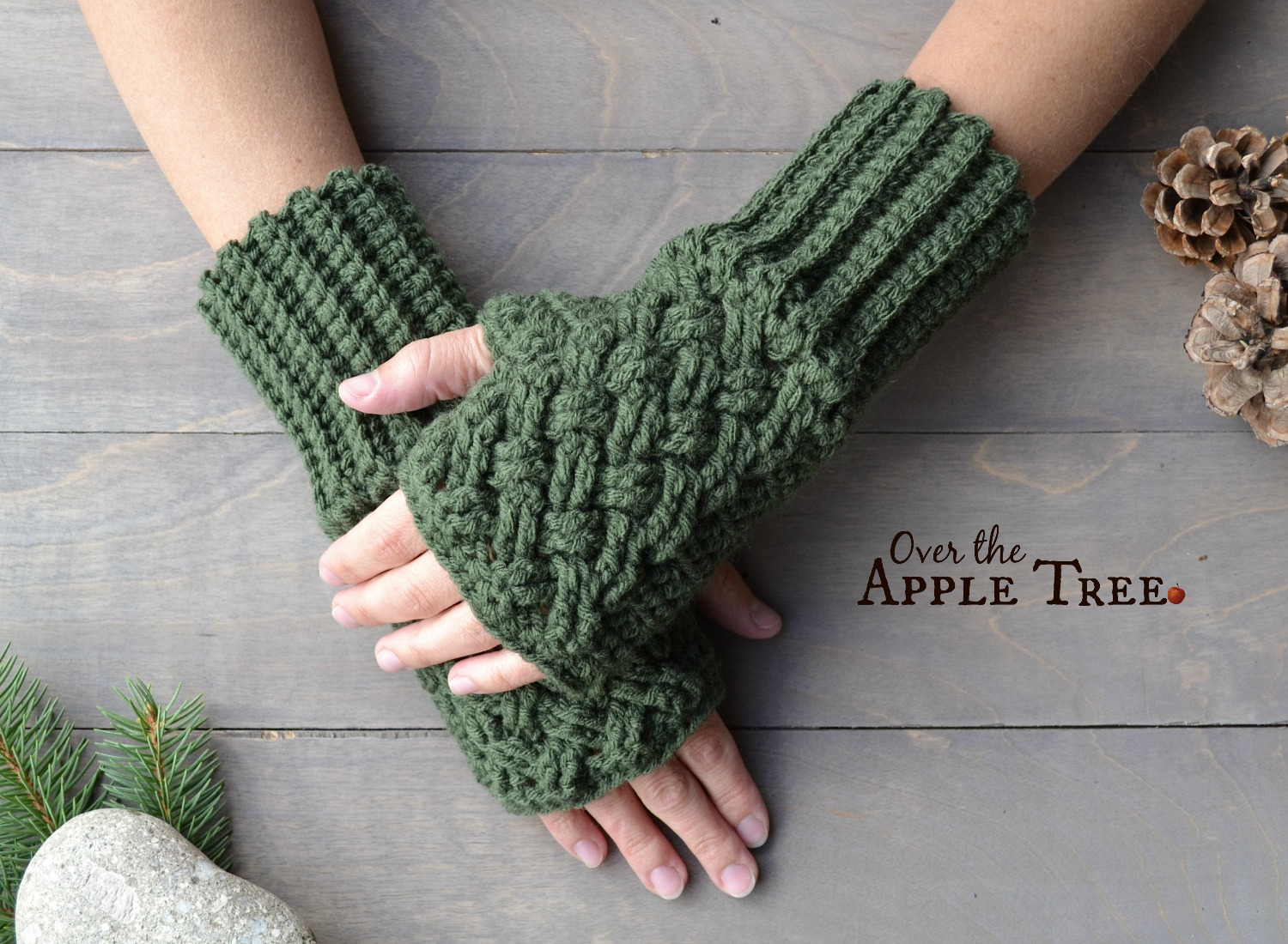Over The Apple Tree: Celtic Weave Fingerless Gloves- Free Pattern