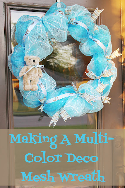 making a multi color deco mesh wreath miss kopy kat. Black Bedroom Furniture Sets. Home Design Ideas